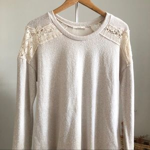 Le Lis Crocheted Pullover Cream Sweater